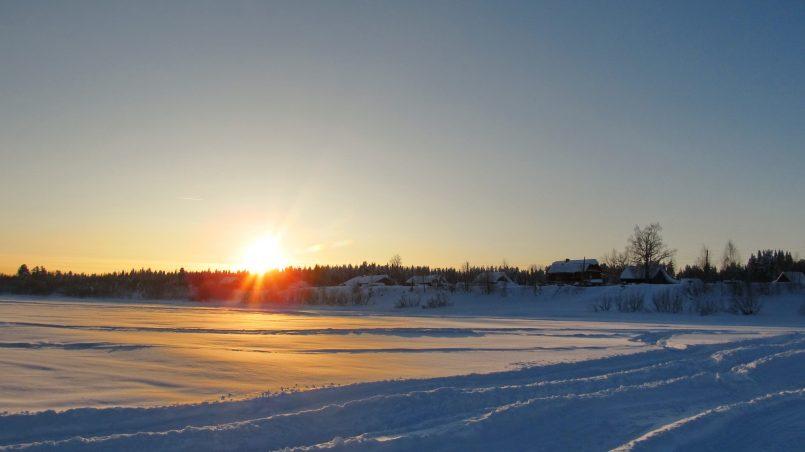 Закат на замерзшей Вишере