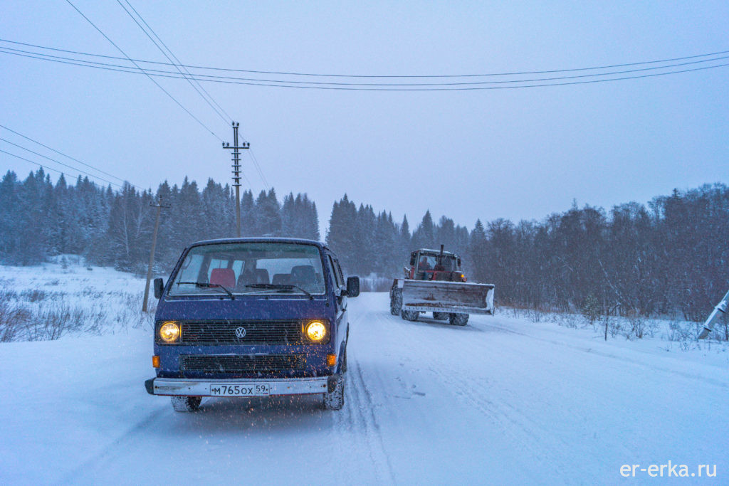 зимой на  VW T3